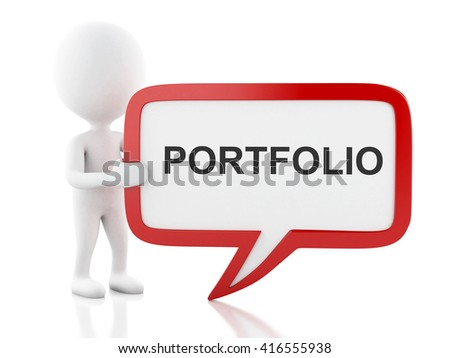 3d renderer image. White people with speech bubble that says portfolio . Business concept. Isolated white background. - stock photo
