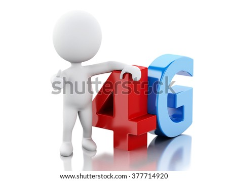 3d renderer image. White peple with smart phone and 4G sign. Communication technology concept. Isolated white background - stock photo