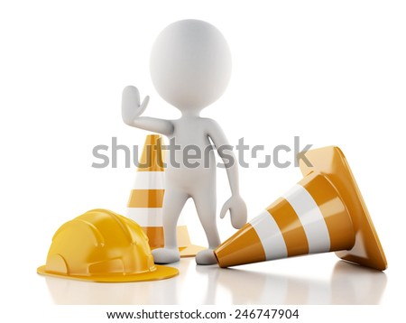 3d renderer imagen. White people with Helmet and traffic cones. Isolated white background.