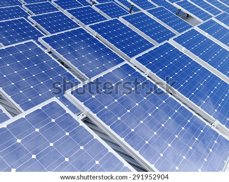 3d renderin of solar panel conceptual illustration - stock photo