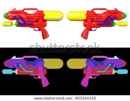 3D rendering a set of Water gun isolated on white background with id color for fully edit content. - stock photo