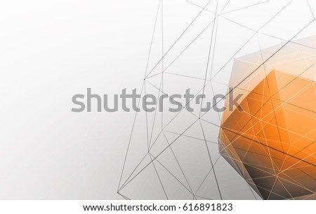 3D rendering abstract background made of grey cubes with bright orange core translucent with space for text