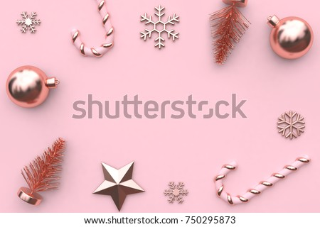 3d Rendering Abstract Christmas Background Pink Metallic Glossy Rose Gold Tree Star Snow Candy Minimal