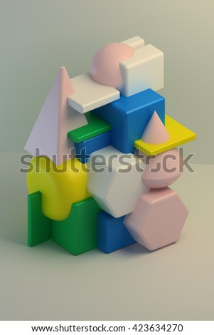 3d rendering. Abstract composition of geometric bodies the intersection of simple shapes: cube, sphere, cone, pyramid, prism. Colorful group of primitive objects on white background. - stock photo