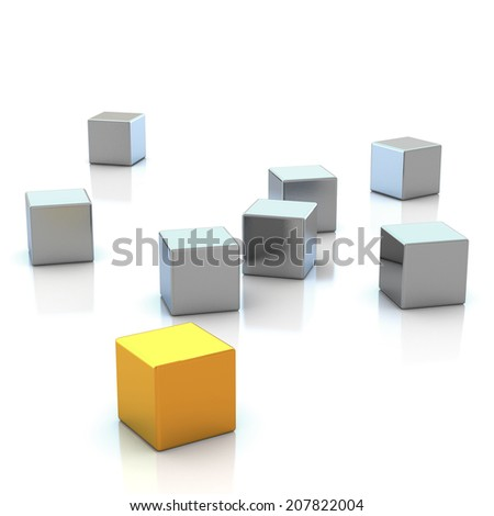 3d rendering abstract cubic - stock photo
