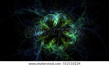 3D rendering abstract fractal of lights effect in the background