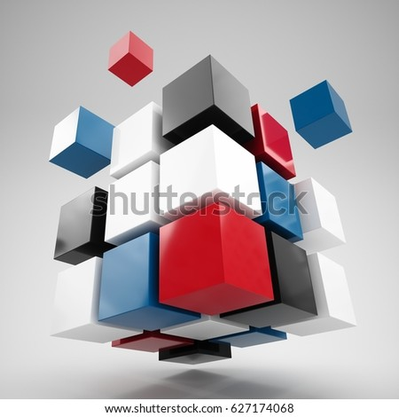 3D rendering Abstract Illustration 3d cubes