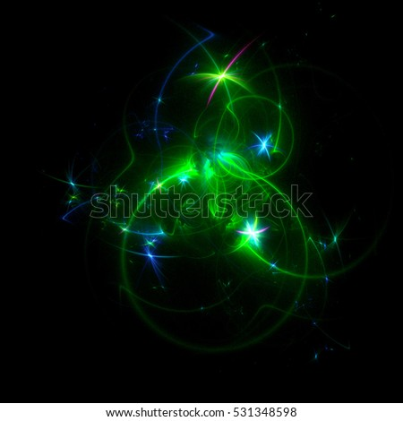 3D rendering abstract light background for happy New Year ball. Holiday overlay illustration of glowing neon shiny star light