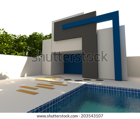 3D rendering Abstract Modern Mock-up exterior modern house with pool