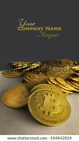 3D rendering af a group of bitcoins - stock photo