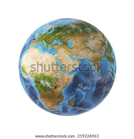 3d rendering, Africa and Asia view. Elements of this image furnished by NASA