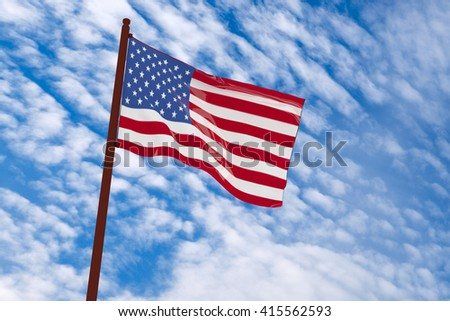 3d rendering America flag with sky background