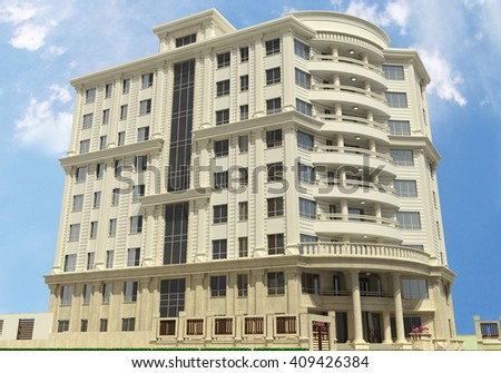 3d rendering and design - classical building - view 1 - stock photo