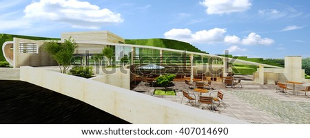 3d rendering and design - coffee shop - view 2 - stock photo