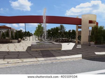 3d rendering and design - landscape - entrance  - stock photo