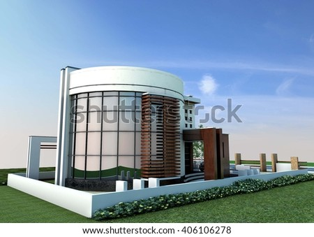 3d rendering and design - modern villa - east view - stock photo