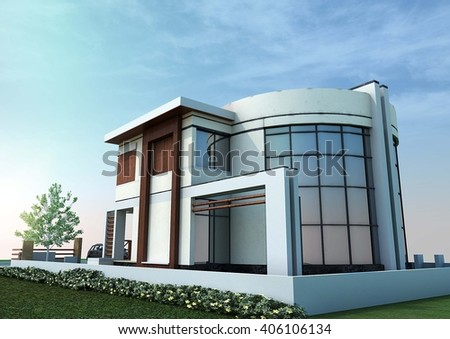 3d rendering and design - modern villa - north view - stock photo