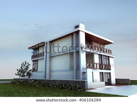 3d rendering and design - modern villa - west view