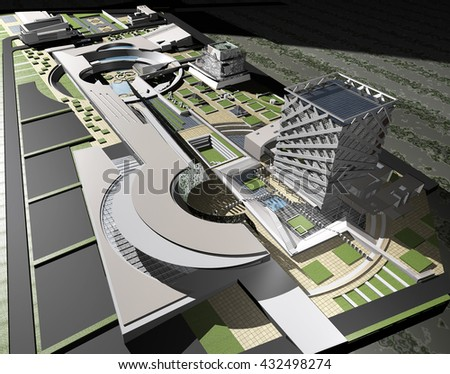 3d rendering and design - multi-functional centre - stock photo