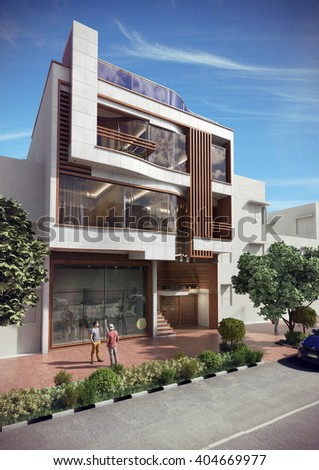 3d rendering and design - residential house - left view