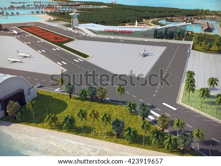 3d rendering and design - touristic Island - airport