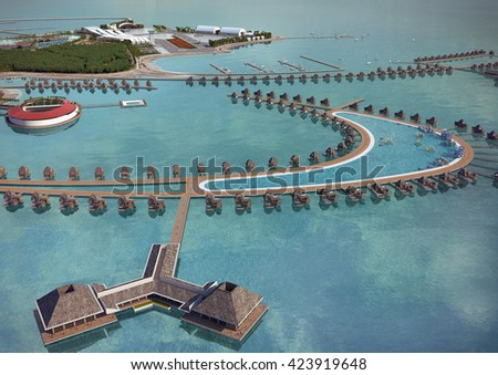 3d rendering and design - touristic Island -  general view 2