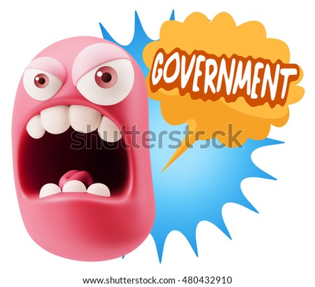 3d Rendering Angry Character Emoji saying Government with Colorful Speech Bubble.