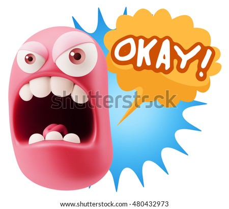 3d Rendering Angry Character Emoji saying Okay with Colorful Speech Bubble.