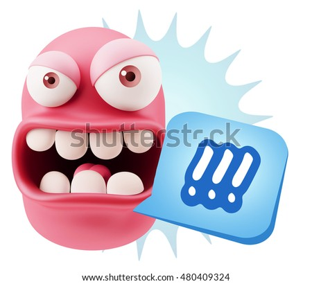 3d Rendering Angry Character Emoji saying !!! with Colorful Speech Bubble.