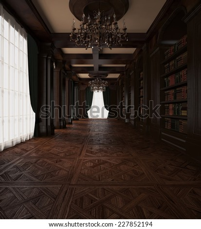 3d rendering. Antique book Room. Classical wooden reading hall - stock photo