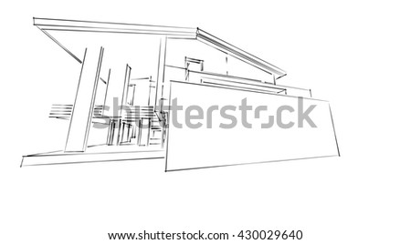 3D rendering architecture ; exterior ; houses ; modern ;   - stock photo