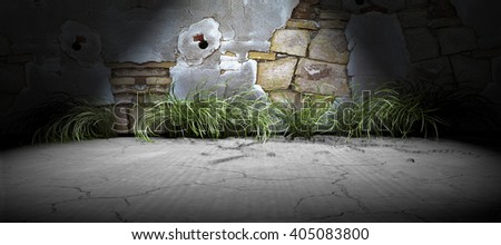 3D rendering background .Brick wall and cement floor background illuminated by spotlight - stock photo