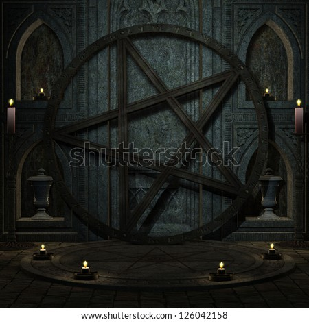 3D rendering background ritual space with Pentagram - stock photo