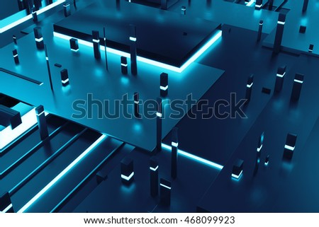 3d rendering background with random rectangle and box forms with bright 