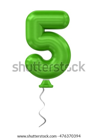 3d rendering balloon number on rope on a white background