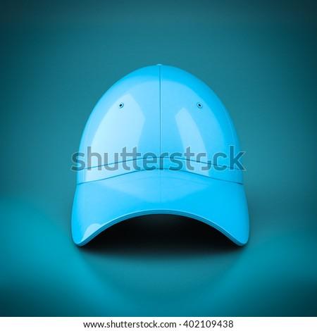 3D rendering baseball cap on blue background - stock photo