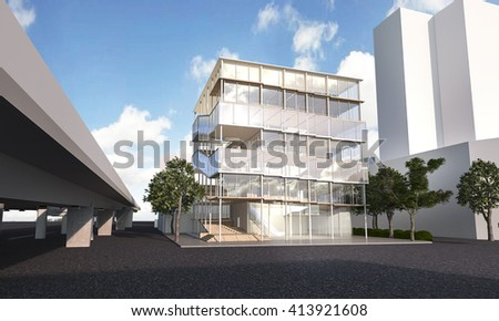 3d rendering beautiful glass architecture in summer