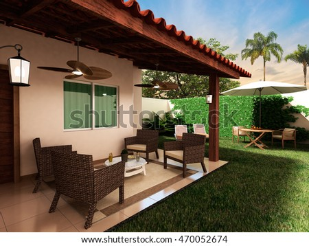 3D rendering beautiful house project with wooded backyard