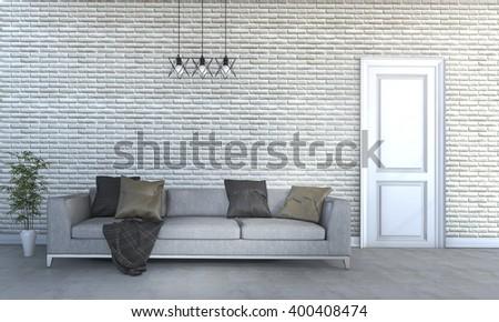 3d rendering beautiful huge sofa in bright living room - stock photo