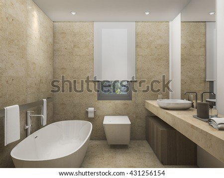 3d rendering beautiful warm tone toilet with bright atmosphere