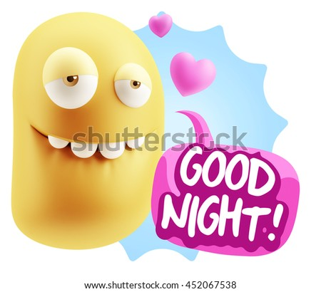 3d Rendering. Biting Lip Emoticon Face saying Good Night with Colorful Speech Bubble.
