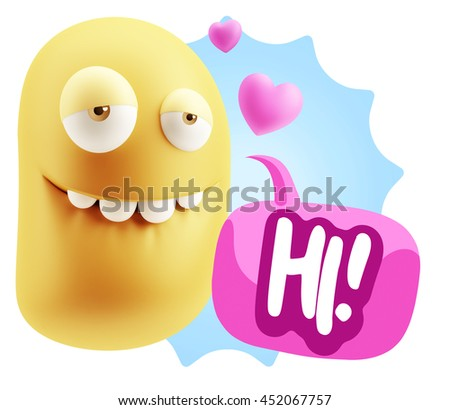 3d Rendering. Biting Lip Emoticon Face saying Hi with Colorful Speech Bubble.