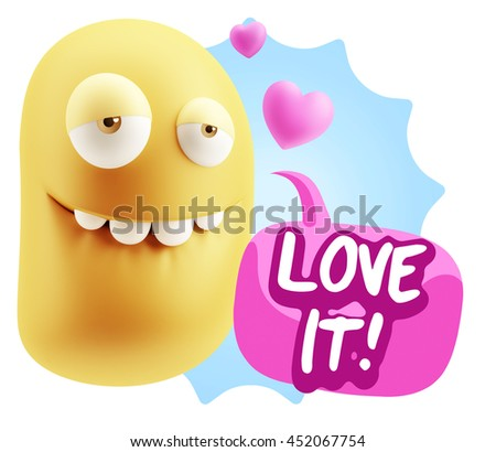 3d Rendering. Biting Lip Emoticon Face saying Love It with Colorful Speech Bubble.