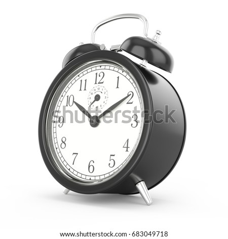 3D rendering black alarm clock isolated on white background