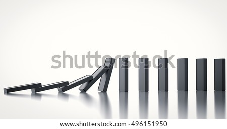 3d rendering black dominoes falling
