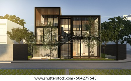 3d Rendering Black Loft Modern House In Summer
