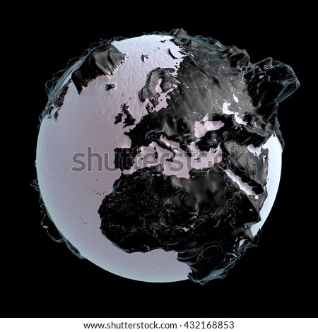 3D rendering: black raised-relief world globe with Europe in the front