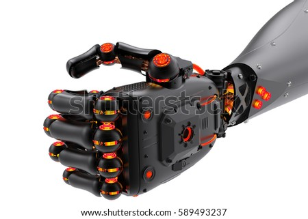 3d rendering black robotic fist isolated on white