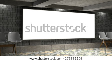 3D Rendering Blank billboard on empty wall with lights - stock photo