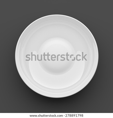 3D Rendering Blank Clean White Bowl in Dark Background with Work Paths, Clipping paths Included.